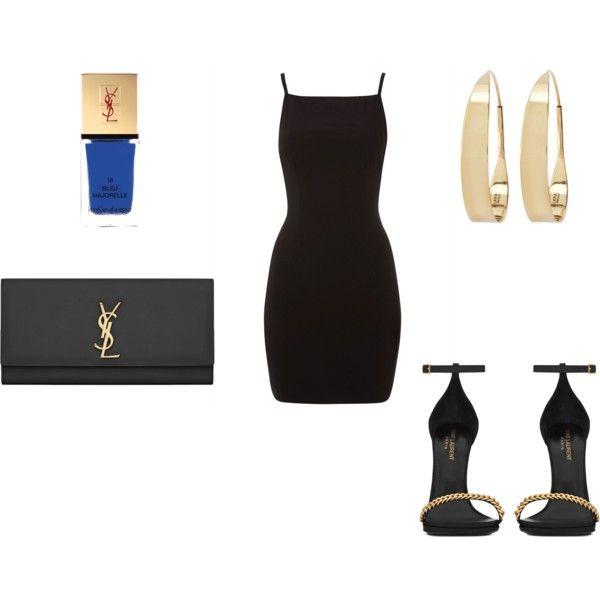 Черное платье и золотые украшения