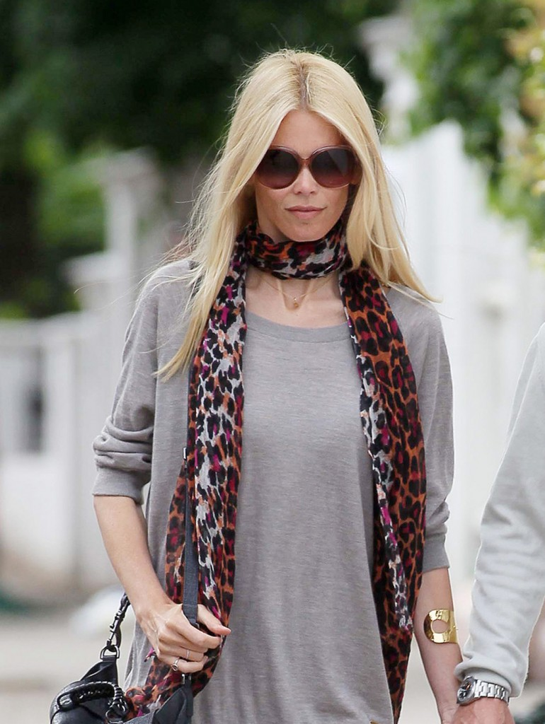 Supermodel Claudia Schiffer is joined by husband Matthew Vaughn as they do the school run in North London