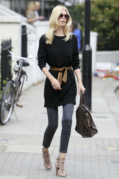 Supermodel supermum Claudia Schiffer takes her daughter Clementine to school in London
