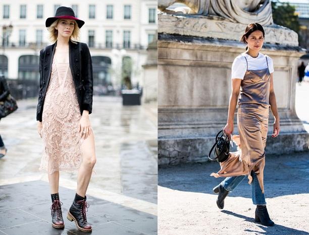фото бельевой стиль с бежевым платьем