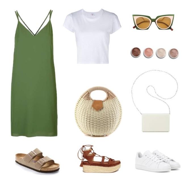 Белая футболка + платье в стиле ланжери
