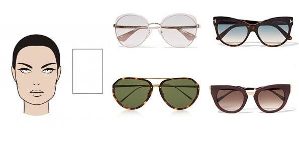темные очки: прямоугольное лицо