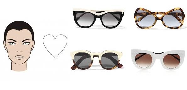 темные очки: лицо в форме сердца
