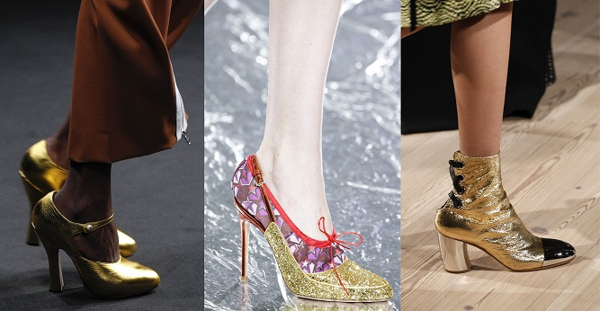 Модная обувь осени-зимы 2016-2017- золото