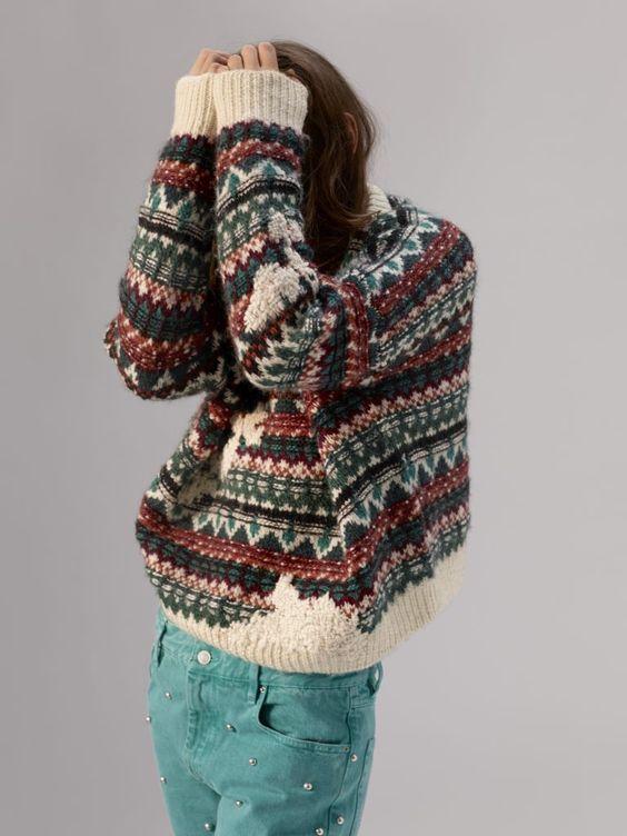 яркий зимний образ, этника, свитер