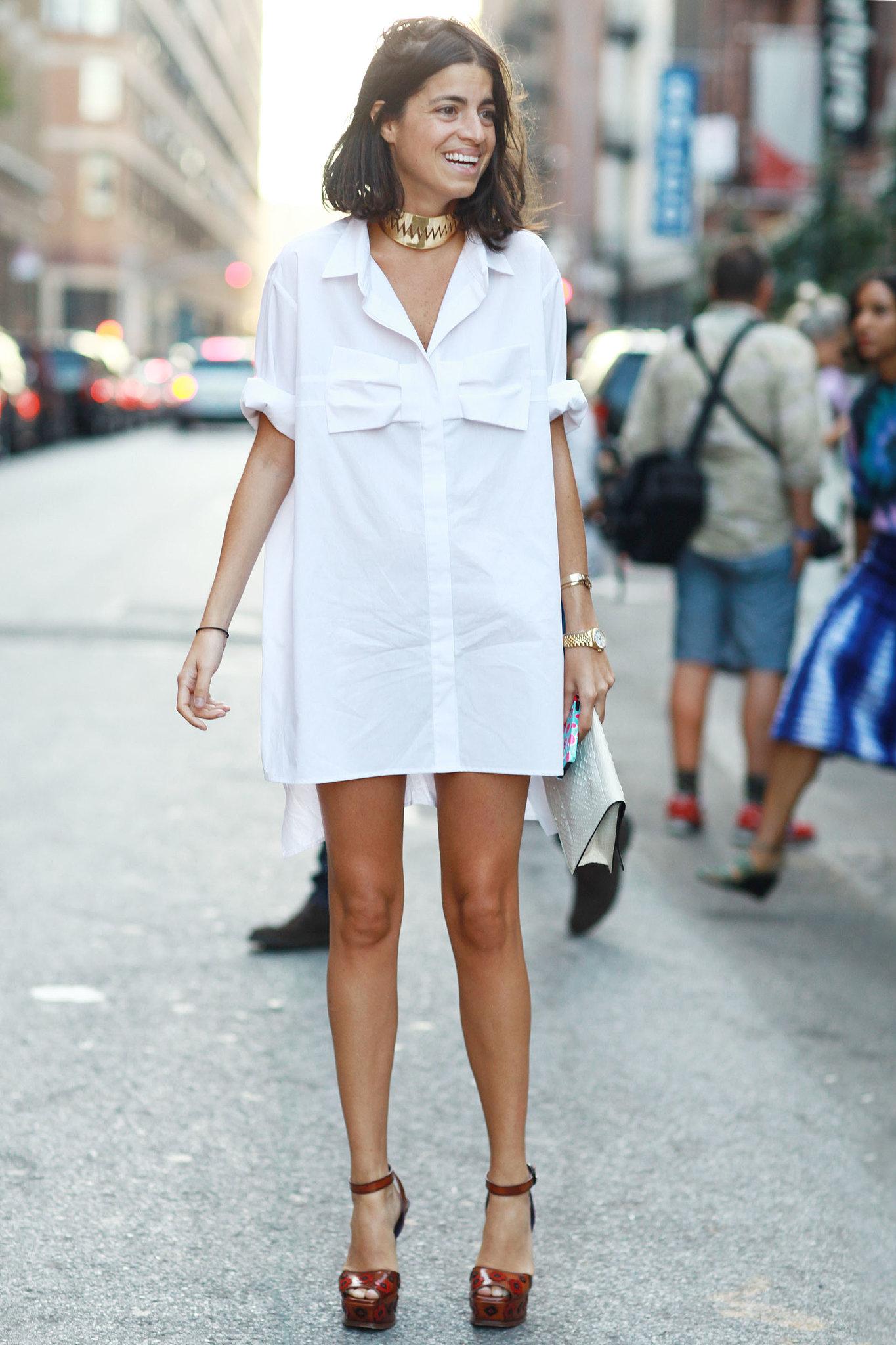 что носить летом: платье-рубашка стрит-стайл